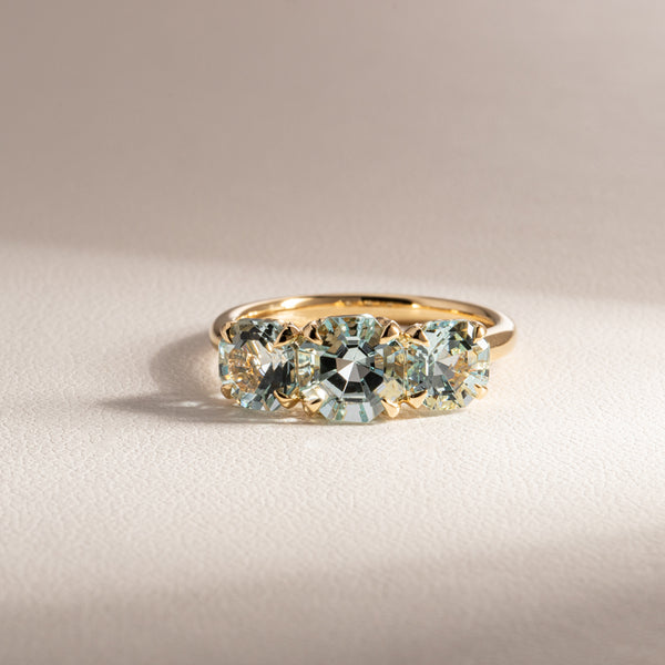 18ct Yellow Gold Three Stone Aquamarine Octavia Ring - Walker & Hall