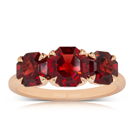 18ct Rose Gold Three Stone Garnet Octavia Ring - Walker & Hall