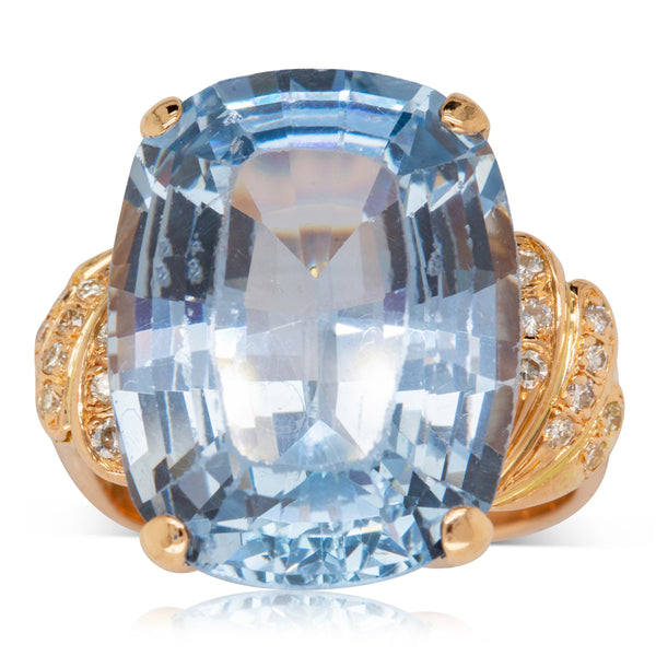 Deja Vu 14ct Rose Gold 18.00ct Synthetic Blue Spinel & Diamond Dress Ring - Walker & Hall
