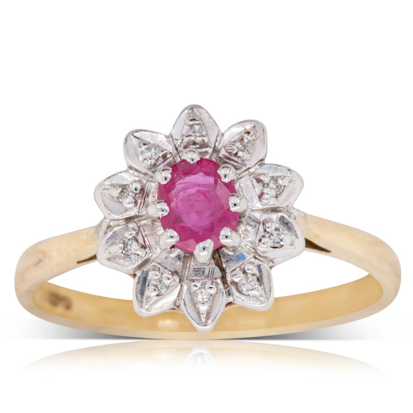 Deja Vu 9ct Yellow Gold .30ct Ruby & Diamond Ring - Walker & Hall