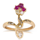 Vintage 18ct Yellow Gold .27ct Ruby & Diamond Ring - Walker & Hall