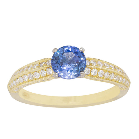 18ct Yellow Gold 1.04ct Sapphire & Diamond Ring - Walker & Hall