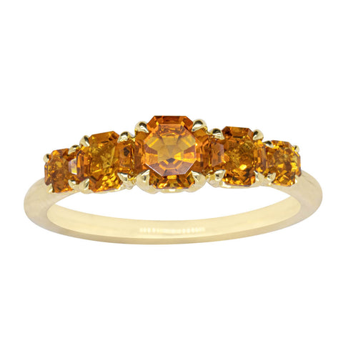 18ct Yellow Gold Five Stone Citrine Octavia Ring - Walker & Hall