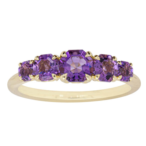 18ct Yellow Gold Five Stone Amethyst Octavia Ring - Walker & Hall