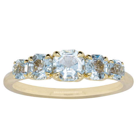 18ct Yellow Gold Five Stone Aquamarine Octavia Ring - Walker & Hall
