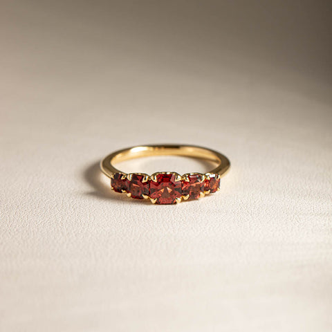 18ct Yellow Gold Five Stone Garnet Octavia Ring - Walker & Hall