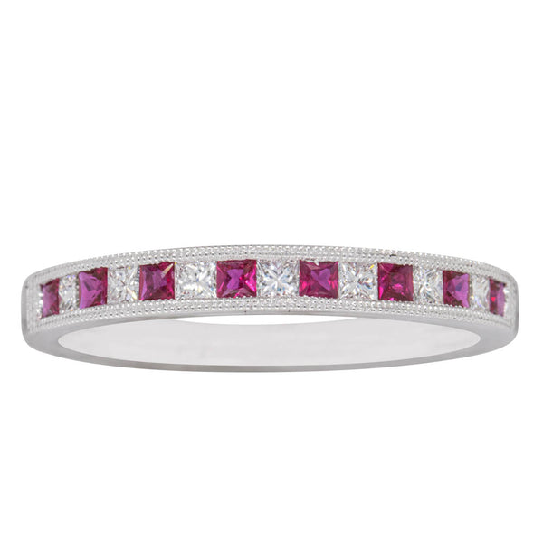 18ct White Gold Ruby And Diamond Band - Walker & Hall