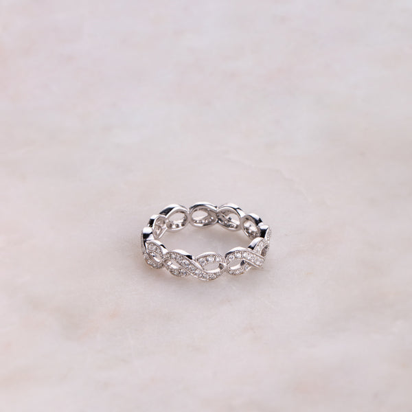 18ct White Gold .55ct Woven Diamond Ring - Walker & Hall