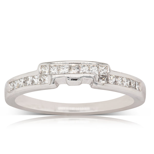 18ct White Gold .31ct Diamond Shaped Band - Walker & Hall