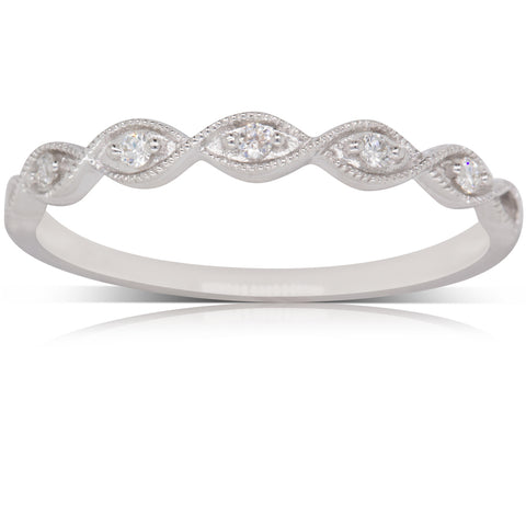 9ct White Gold .08ct Diamond Rapunzel Ring - Walker & Hall