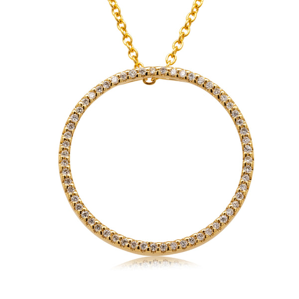 9ct Yellow Gold Diamond Forevermore Circle Pendant - Walker & Hall
