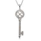 18ct White Gold .36ct Diamond Key Pendant - Walker & Hall