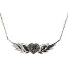 18ct White Gold Black Diamond Heart With Wings Necklace - Walker & Hall