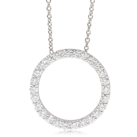18ct White Gold .75ct Diamond Circle Pendant