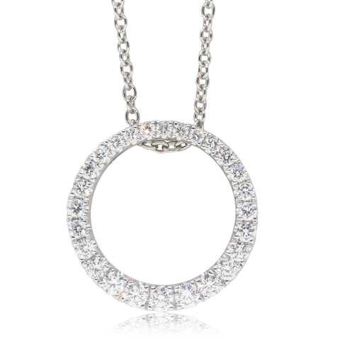 18ct White Gold .35ct Diamond Circle Pendant