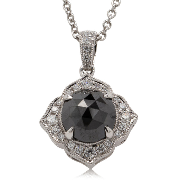 18ct White Gold Black Diamond Halo Necklace - Walker & Hall