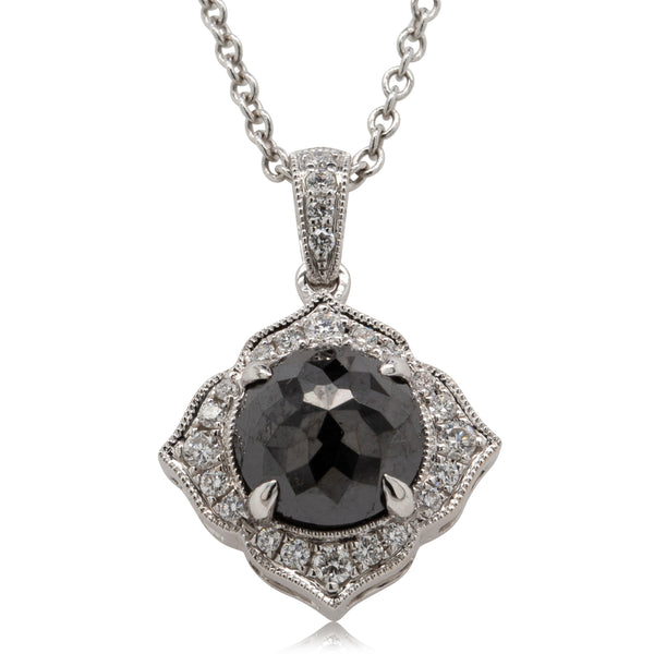18ct White Gold 1.54ct Black Diamond Necklace - Walker & Hall