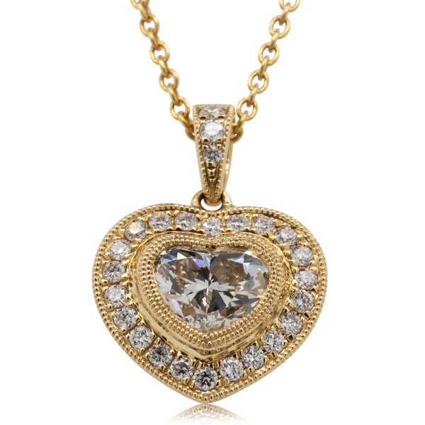 18ct Yellow Gold 1.00ct Diamond Heart Necklace - Walker & Hall