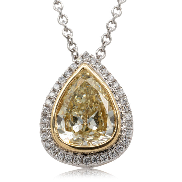 18ct White & Yellow Gold 1.40ct Yellow Diamond Necklace - Walker & Hall
