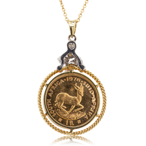 Deja Vu 18ct Yellow & White Gold Coin Pendant - Walker & Hall