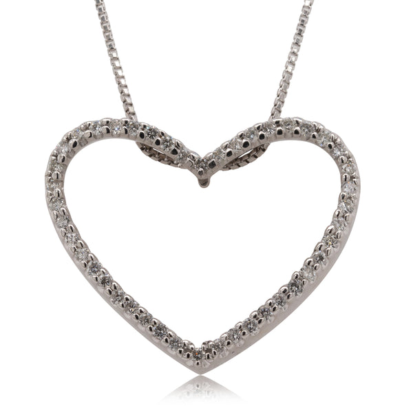 Deja Vu 18ct White Gold .43ct Diamond Heart Pendant - Walker & Hall