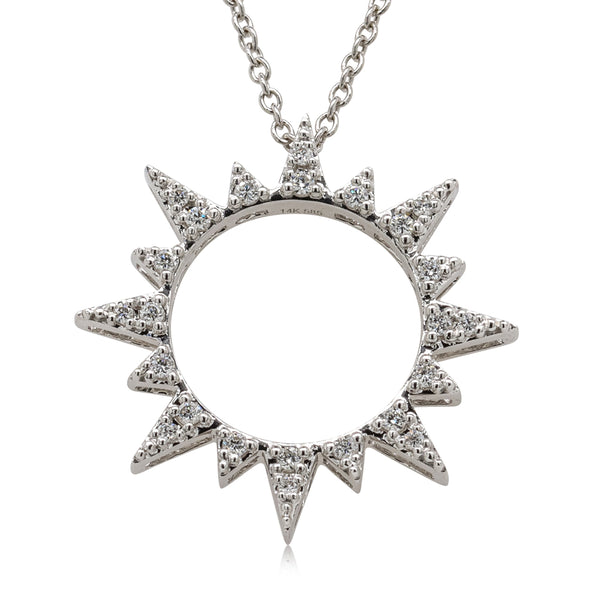 14ct White Gold Diamond Sol Christmas Star Necklace - Walker & Hall