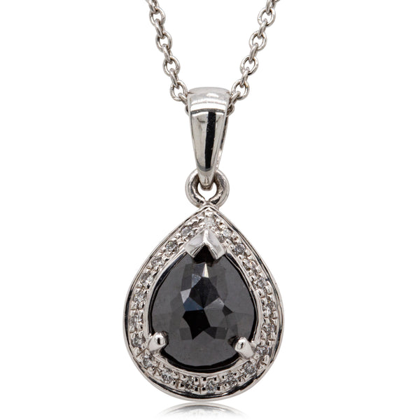 18ct White Gold 1.82ct Black Diamond Halo Pendant - Walker & Hall