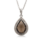 9ct White Gold Smokey Quartz & Diamond Pendant