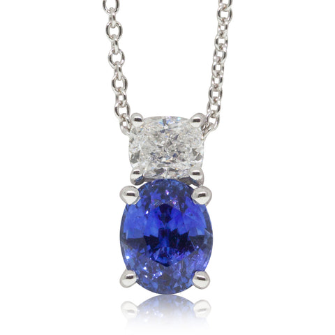 18ct White Gold 2.25ct Sapphire & Diamond Pendant - Walker & Hall