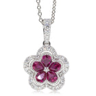 18ct White Gold .85ct Ruby & Diamond Flower Pendant - Walker & Hall