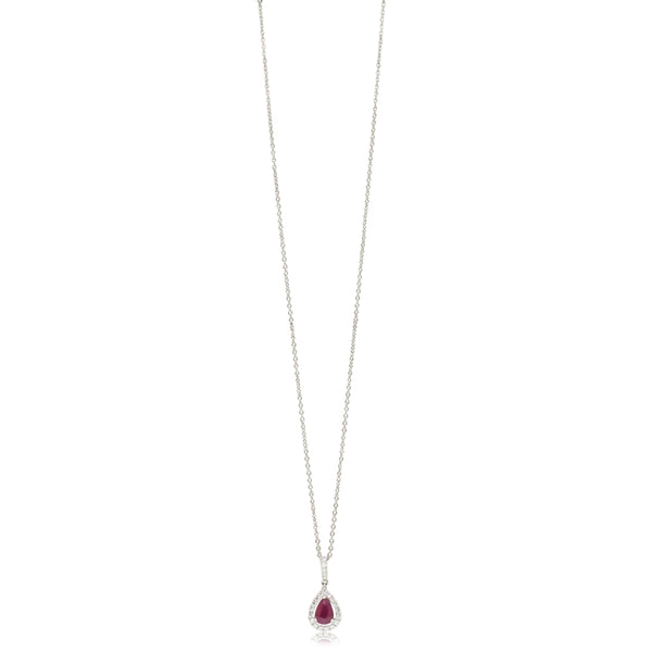 18ct White Gold .75ct Ruby & Diamond Necklace - Walker & Hall