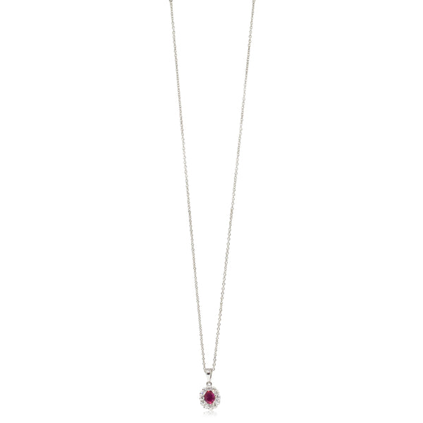 18ct White Gold .31ct Ruby & Diamond Necklace - Walker & Hall