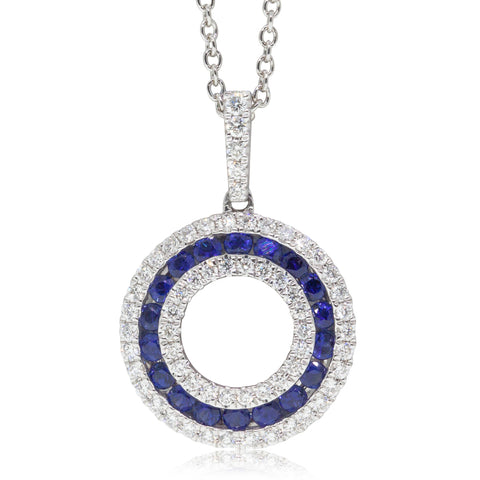 18ct White Gold Sapphire & Diamond Circle Pendant
