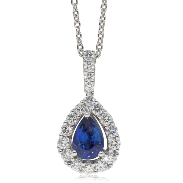 18ct White Gold .79ct Sapphire & Diamond Necklace - Walker & Hall