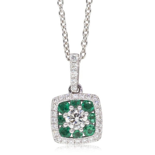 18ct White Gold Diamond & Emerald Necklace - Walker & Hall