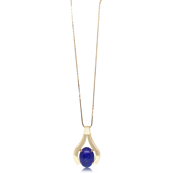 Vintage 18ct Yellow Gold Lapis Lazuli Necklace - Walker & Hall