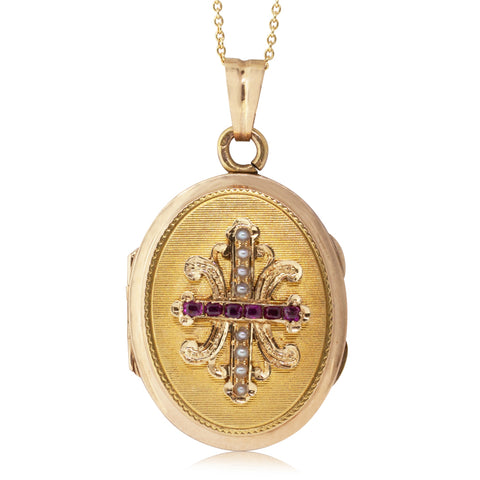 Vintage 18ct Yellow Gold Ruby & Pearl Locket - Walker & Hall
