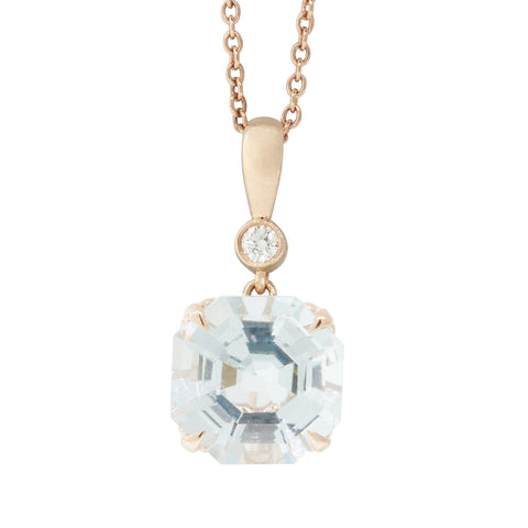 18ct Rose Gold Aquamarine & Diamond Octavia Pendant - Walker & Hall