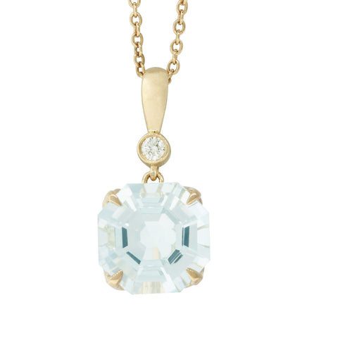 18ct Yellow Gold Aquamarine & Diamond Octavia Pendant - Walker & Hall