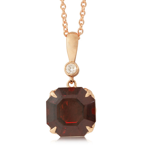 18ct Rose Gold Garnet & Diamond Octavia Pendant - Walker & Hall