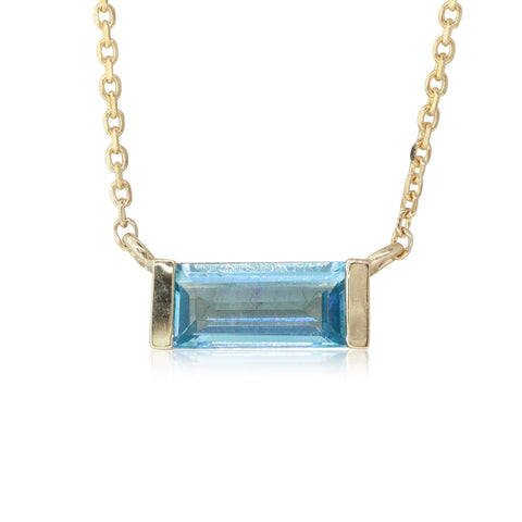 9ct Yellow Gold Blue Topaz Baguette Necklace - Walker & Hall