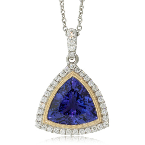 18ct White & Yellow Gold 3.83ct Tanzanite & Diamond Necklace - Walker & Hall