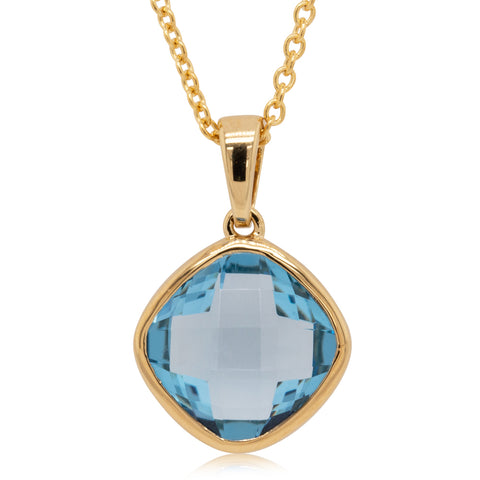 9ct Yellow Gold Blue Topaz Cushion Pendant - Walker & Hall