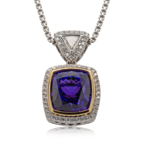 18ct White & Yellow Gold 10.57ct Tanzanite & Diamond Necklace - Walker & Hall