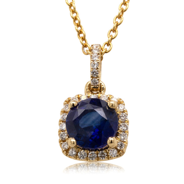 18ct Yellow Gold 1.17ct Sapphire & Diamond Peony Necklace - Walker & Hall