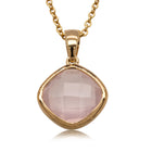 9ct Yellow Gold Rose Quartz Cushion Pendant - Walker & Hall