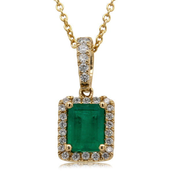 18ct Yellow Gold 1.17ct Emerald & Diamond Necklace - Walker & Hall