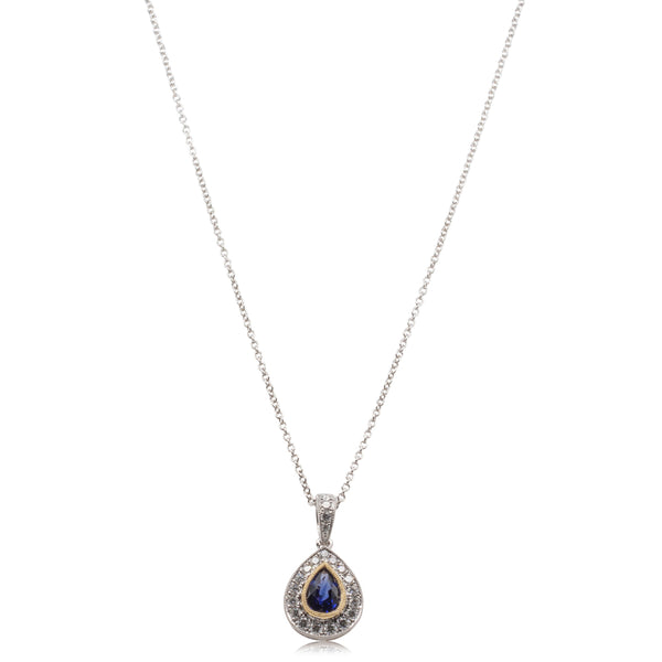 18ct White Gold Sapphire and Diamond Necklace - Walker & Hall