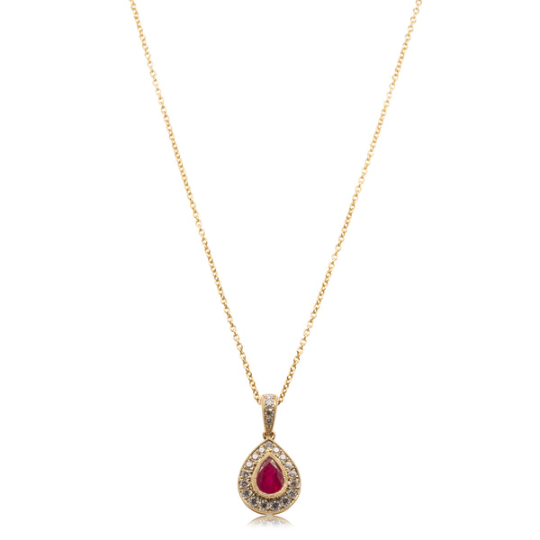 18ct Yellow Gold 1.24ct Ruby & Diamond Necklace - Walker & Hall