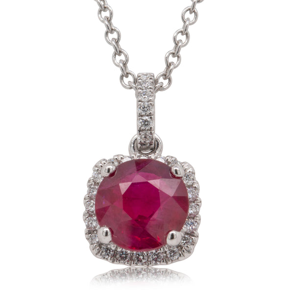 18ct White Gold 1.58ct Ruby & Diamond Necklace - Walker & Hall